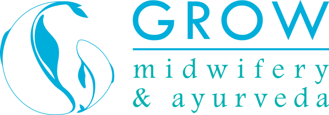 Grow Midwifery and Ayurveda Logo Side Words Colored Transparent